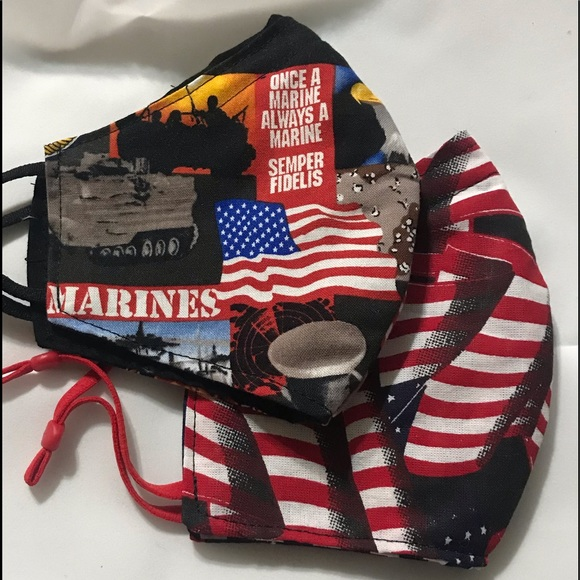 Marines and American flag face masks